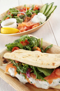 Smoked Salmon Salad Flatbread