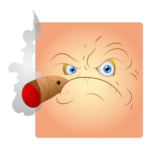 Smoking Angry Face Smiley Vector