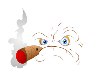 Smoking Cartoon Angry Face