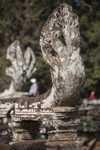 Sneak sculpture in Ankor Thom. Cambodia