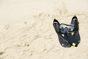 Snorkel Equipment On A Tropical Sandy Beach