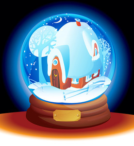 Snow Dome With Christmas Landscape And Rural House. Vector.