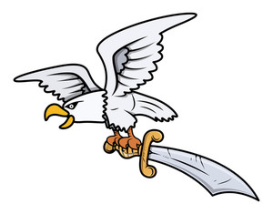 Snow Eagle Carrying Sword - Vector Cartoon Illustration