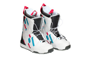 Snowboard Boots Isolated On White With Clipping Path