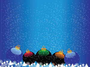 Snowfalls Background With Xmas Balls