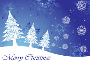 Snowflake Background With Christmas Tree