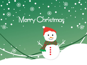 Snowflake Background With Isolated Snowman