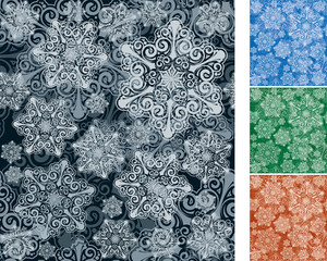 Snowflakes. Seamless Vector Background Set.