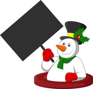 Snowman Holding A Blank Banner