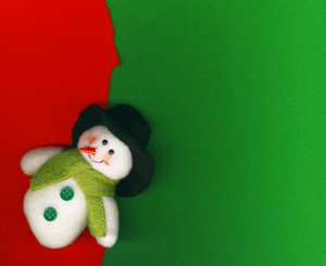 Snowman On Paper Background