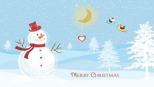 Snowman With Birds Vector Illustration