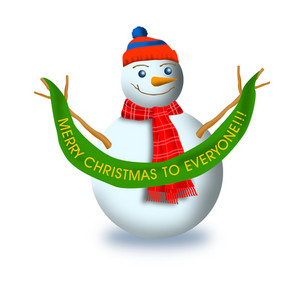 Snowman With Christmas Label