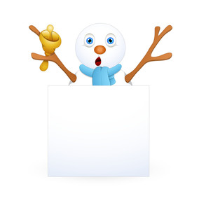 Snowman With Golden Bell And Blank Banner