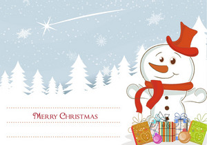 Snowman With Presents Vector Illustration