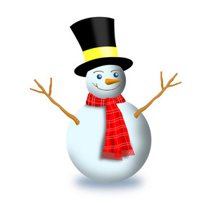 Snowman With Scarf And Top Hat