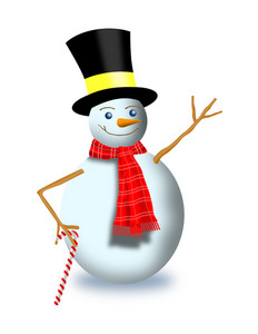 Snowman With Scarf Top Hat And Candy Cane