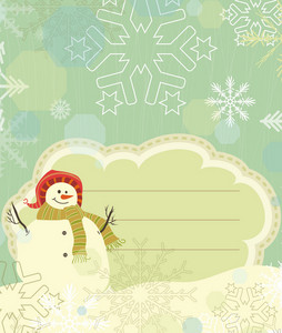 Snowman With Snowflakes Vector Illustration