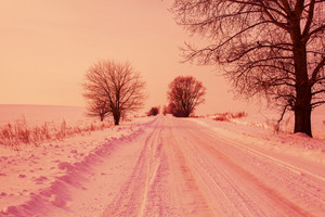 Snowy road at sunrise
