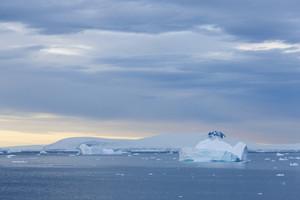 Snowy, rocky coast and ice floe at dusk