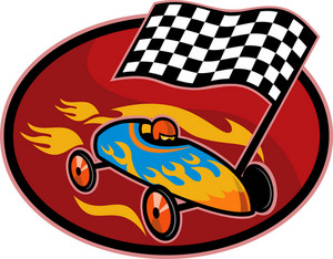 Soap Box Derby Racing With Race Flag