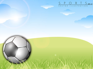 Soccer Ball On Green Grass Over A Natural Blue Sky Background.