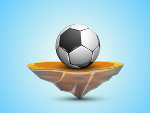 Soccer Ball On Stage On Shiny Blue Background.