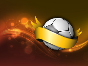 Soccer Ball Wrapped In Golden Ribbon On Shiny Brown Wave Background.