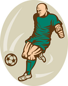 Soccer Player Running And Kicking The Ball