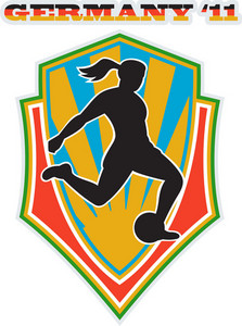 Soccer Player Woman Kicking Ball Shield
