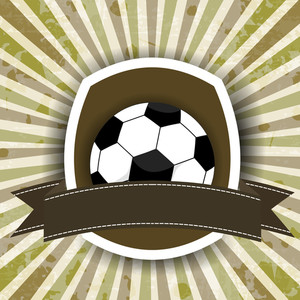 Soccerball Or Football Badge With Ribbon On Grungy Rays Background.