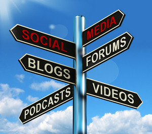 Social Media Signpost Shows Information Support And Communication