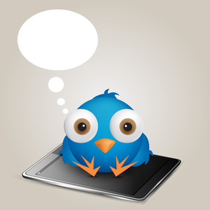 Social Network Cartoon Blue Bird Thinking Sitting Over Phone. Ep