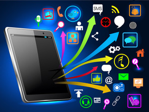 Social Network Communication With Networking Icon.