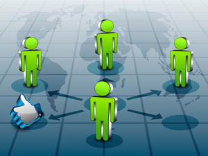 Social Networking 3d Background With Peoples Standing On World Map Netwoking
