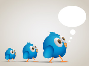 Social Networking Cartoon Blue Birl Following. Eps10