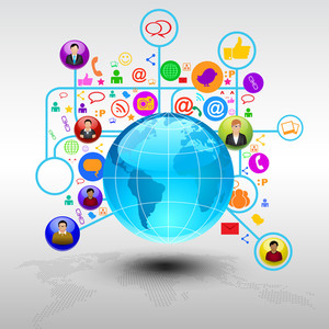 Social Networking Communication Abstract With The Word Globe Networks. Eps 10 Vector Illustration