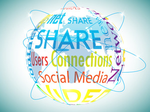 Social Networking Theme Displaying Unique Globe Made With Various Words Related To Networking. Can Be Used As An Networking Icon.