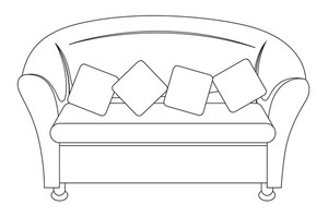 Sofa Shape Vector Illustration