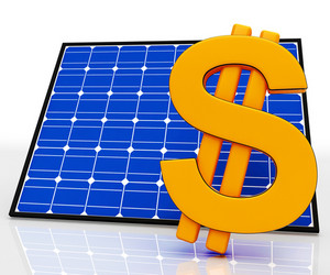 Solar Panel And Dollar Sign Shows Saving Energy
