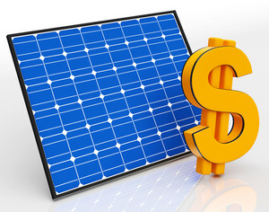 Solar Panel And Dollar Sign Shows Saving Money