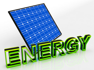 Solar Panel And Energy Word Shows Alternative Energies
