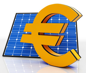 Solar Panel And Euro Shows Saving Energy