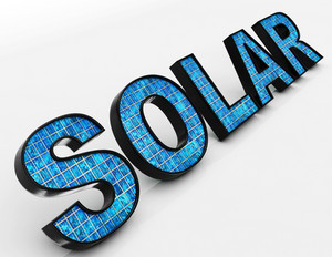 Solar Word Shows Alternative Energy And Sunlight