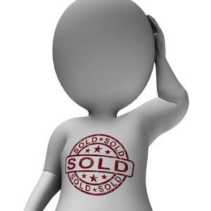 Sold Stamp On Man Shows Selling Or Purchasing