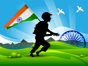 Soldier Silhouette On Indian Flag Nature Background.
