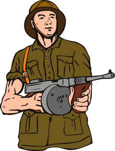 Soldier With Thompson Gun