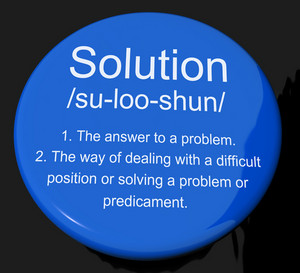Solution Definition Button Showing Achievement Vision And Success