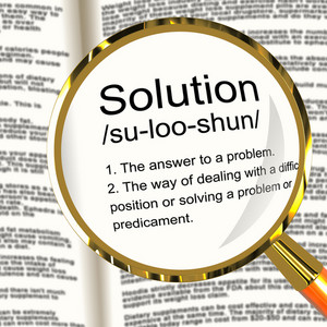 Solution Definition Magnifier Showing Achievement Vision And Success