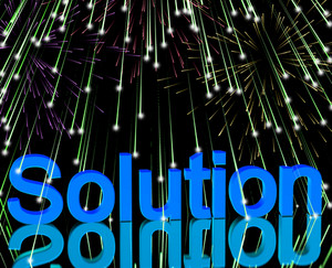 Solution Word With Fireworks Showing Success Acheivement And Strategy