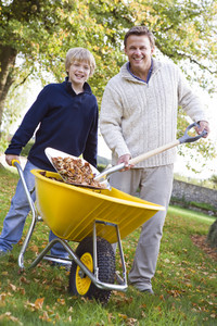 Son helping father to collect leaves in wheelbarrow